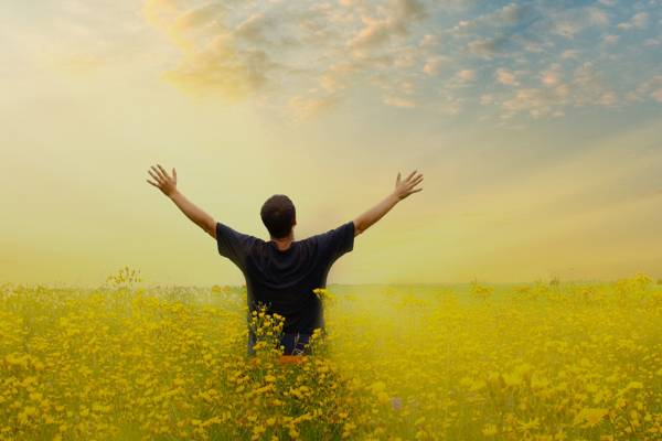 Photo of a person spreading their arms high and wide in a meadow