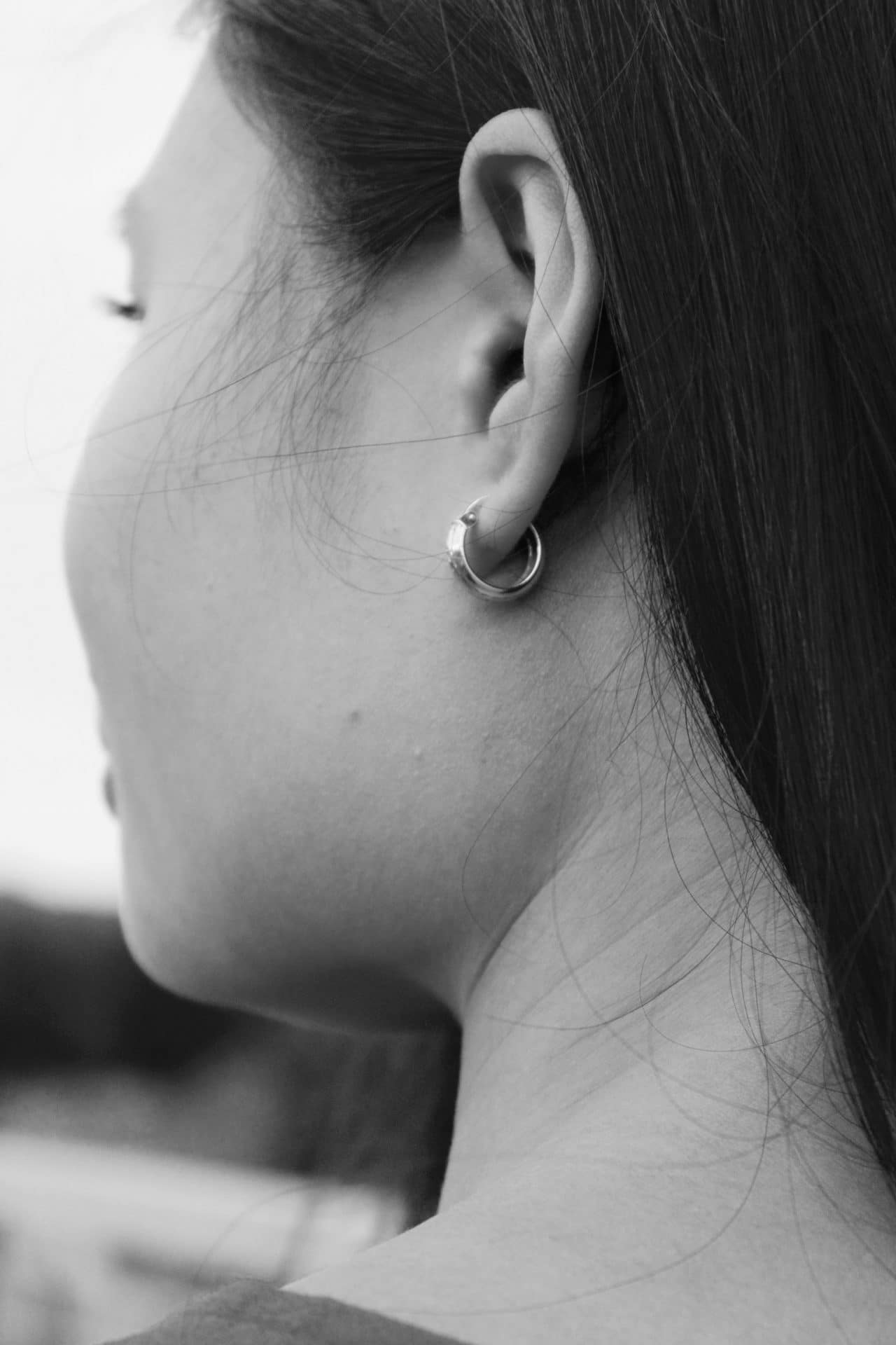 Close-up of a woman's earlobe