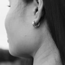 Close-up of a woman's earlobe