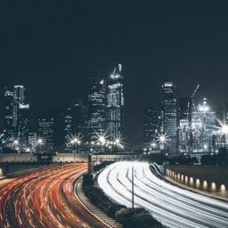 Traffic in a city at night.
